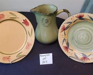 """$17 - Kitchen decor - 10"""" pitcher, 2 plates with stands"""
