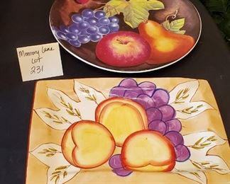 """$12 - 2 platters - Rectangle one is 8.5""""x12.75"""" and the round platter is Furio and 12.25"""" in diameter"""