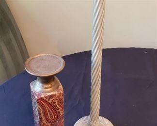 """$13 - 2 candle holders (tallest one is 22"""")"""