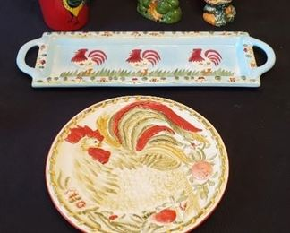"""$12 - Rooster Lot - The plate is 9"""" Royal Doulton."""