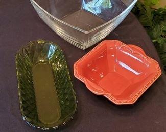 """$10 - Square glass dish, oval green dish & square dish by Cha Debby Seggura Designs (6.5"""")"""