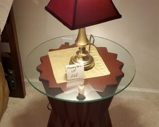 """$45 - End table & 18"""" tall lamp. End table is 20""""tall with 20"""" diameter glass top."""