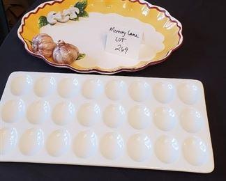 """$12 - Oval Bella Casa by Ganz 14"""" platter & 15.25"""" Ceramic egg tray"""