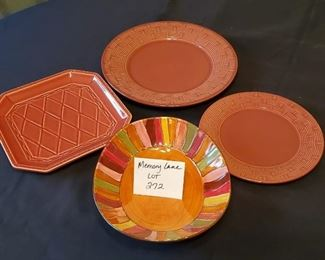 """$12 - 2 round plates are Pier 1 (made in France) 10.75"""" and 5.25"""". The 8.5""""x8.5"""" square dish is Cha by Debby Segura Designs. The Wavy Stripe dish is Pier 1."""
