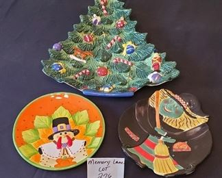 """$15 - St. Nicholas Square Christmas Tree platter - 16"""" tall to tip of tree. 8"""" turkey plate and a Certified International witch plate"""