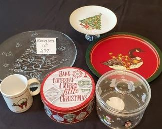 """$6 - 12' glass platter, 3.5""""T x 7.5"""" in diameter hand-created cookie plate, coffee cup, plastic treat container, Christmas tin & a metal tray"""