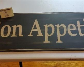 """$8 - Large wood 'Bon Appetit' sign 28.5"""" across & 10.25"""" top to bottom"""
