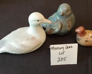 "$9 - Otagiri Japan bird(7"" across), a blue ceramic bird & a clay bird"