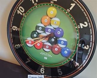"""$30 - 18"""" Sterling & Noble Pool hall man cave clock (no battery)"""