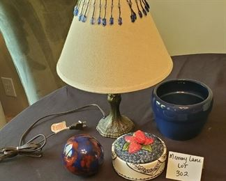 """$13 - Blue decor lot - Lamp is 16"""" tall and sugar bowl is 5"""" in diameter"""