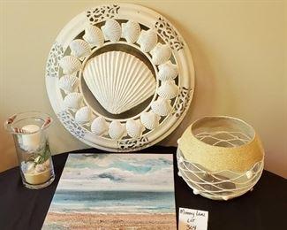 "$25 - Seashell/Beach decor - 20"" metal wall decor, 8.5""T candle holder, 14""x14"" beach canvas wall art & large glass bowl decor"