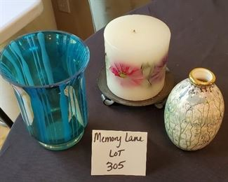 """$12 - Home decor lot - Blue glass candle holder is 6"""" tall"""