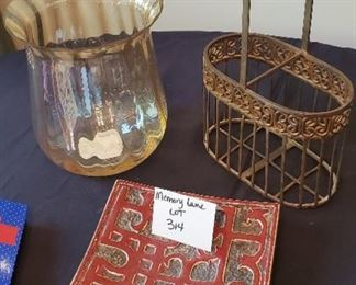 """$10 - Home decor lot - Glass decor is 9.25T & stone dish is 8.5"""" x 8.5"""""""
