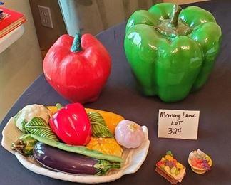 "$20 - Ceramic Vegi's Lot - 9""T ceramic bell pepper, plastic apple, ceramic vegi's in dish (made in Portugal) is 11"" across, 2 mini fruit baskets"
