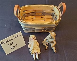 """$9 - American Traditions 6.5"""" basket, 2.5"""" tall clay boy & 4"""" bisque doll"""