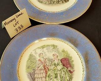 "$8 pair - Century Salem 23 Karat gold rim 10.75"" plates. Made in USA"