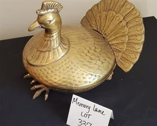 """$25 - 10"""" Fritz brass turkey 2-pcs. top comes off to be used as bowl. Candy dish??"""