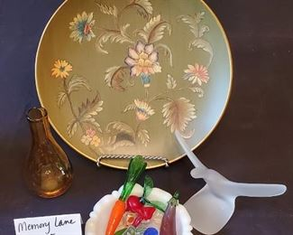 $10 - Home decor lot - Decorative plate, glass candy & fruit, frosted glass bird figurine and brown glass vase