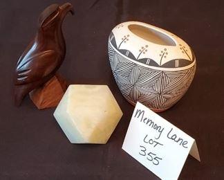 """$15 - Concho Acoma 4"""" pottery, stone decor, wood eagle"""