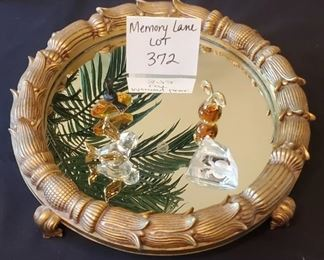 $15 - Mirrored tray (greenery is just the mirror picking up the image :)) - 2 glass miniature figurines and 2 miniature perfume bottles