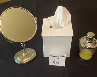 $6 - Plastic tissue holder, soap dispenser & mirror