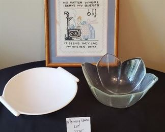 """$10 - 12.5"""" x 14.25"""" picture, 11"""" oval bowl and 5""""T glass bowl"""