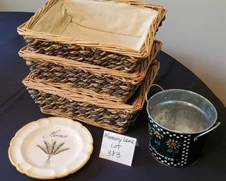$10 - 3 baskets, tin and harvest plate