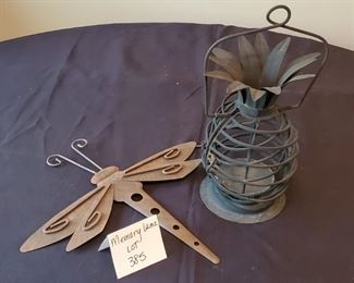 """$10 - Dragonfly wall decor (14"""" long) & outdoor metal pineapple candle holder (13"""" tall)"""