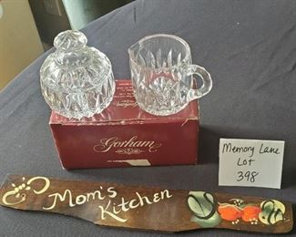 """$12 - Gorham Althea crystal sugar & cream set (new) 4.5"""" tall and a wood sign"""