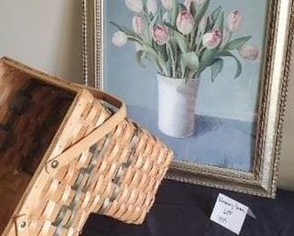 """$20 - 24"""" x 20"""" Flower picture and a stair basket"""