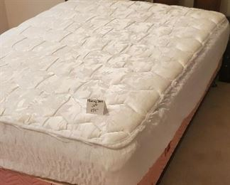 $100 - Full size bed & mattress protector. The mattress is in good condition without stains.