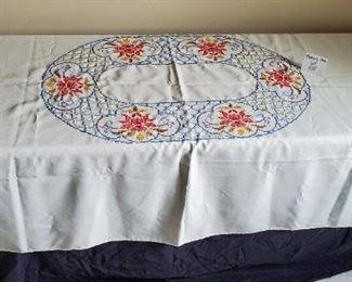 "$10 - 58"" x 78"" tablecloth"