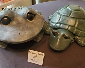 """$25 - Outdoor decor. Frog is 9.5""""T x 12.5""""W and Turtle is 7.5""""T & 13""""W. Both heavy plastic"""