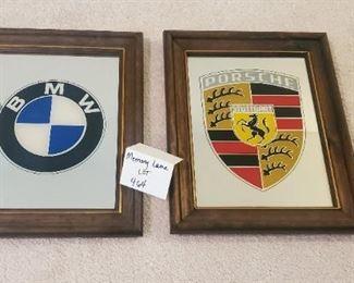 """$50 both - BMW & Porsche advertising mirrors App. 8"""" x 10"""""""
