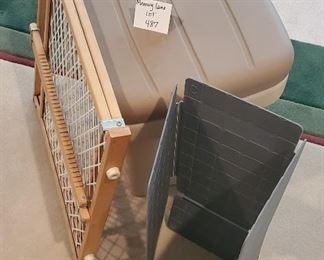 $25 - Baby gate, Plastic storage box, shirt folder