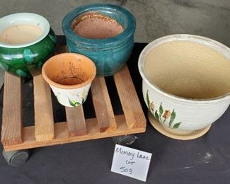 $10 - 4 small pots and a plant dolly
