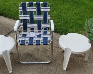 $15 - Folding Chair & 2 plastic stacking tables