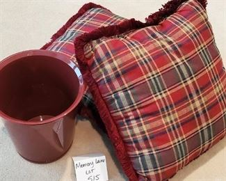 $8 - 2 throw pillows and a wastebasket