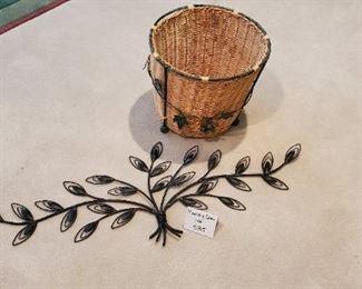 $15 - Metal wall art & a basket