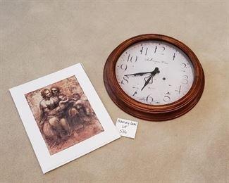 """$10 -16"""" clock & Leonardo daVinci print"""