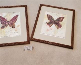 """$15 pair - 2 Phyllis Knight Butterfly 22"""" x 17.5"""" prints"""