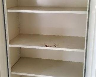 Comes with 2 more shelves but no more pegs to hold the shelves up