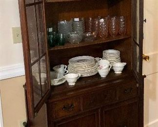 Vintage china cabinet full of vintage glassware and china Vintage china set: Pope Gosser USA 'Rose Point'