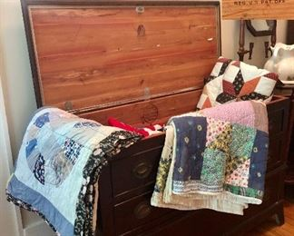Beautiful Lane Cedar Chest and beautiful handmade quilts!  More quilts in other rooms...