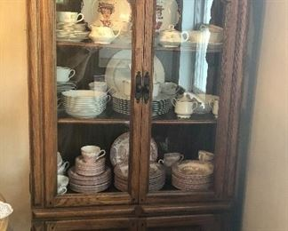 "Oak cabinet,  Churchhill  ""The Brook"" Pink place setting for 12, Homer Laughlin china 32 pieces, Carlion ""Plymouth"" china place setting for 8"
