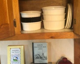 Corning ware in different sizes, cookbooks...