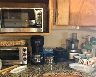 Panasonic microwave, Cuisinart toaster oven, Bunn coffee maker, Waffle maker, Food processor, Pitchers...