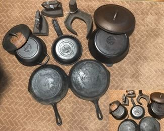 Three pieces Lodge cast iron, Wagner Ware Sidney-0-, 2 cast iron flat irons, Cobblers shoe last stamped Anniston, ALA.