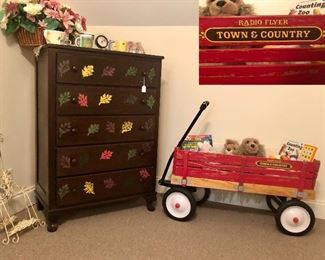 "Radio Flyer ""Town and Country"" wagon, leaf dresser, smalls..."
