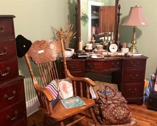 Oak rocker, Dressing table/mirror, bedding, candles, lamp and much more!